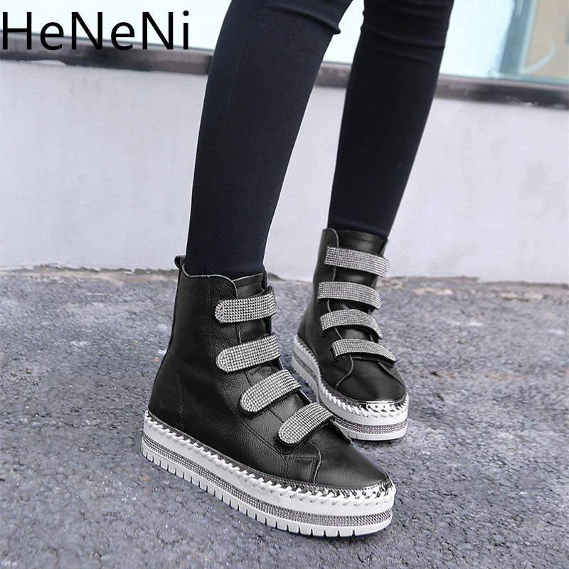 Winter New Genuine Leather Women high top Ankle Boots Women platform Boots Women Crystal Top Quality