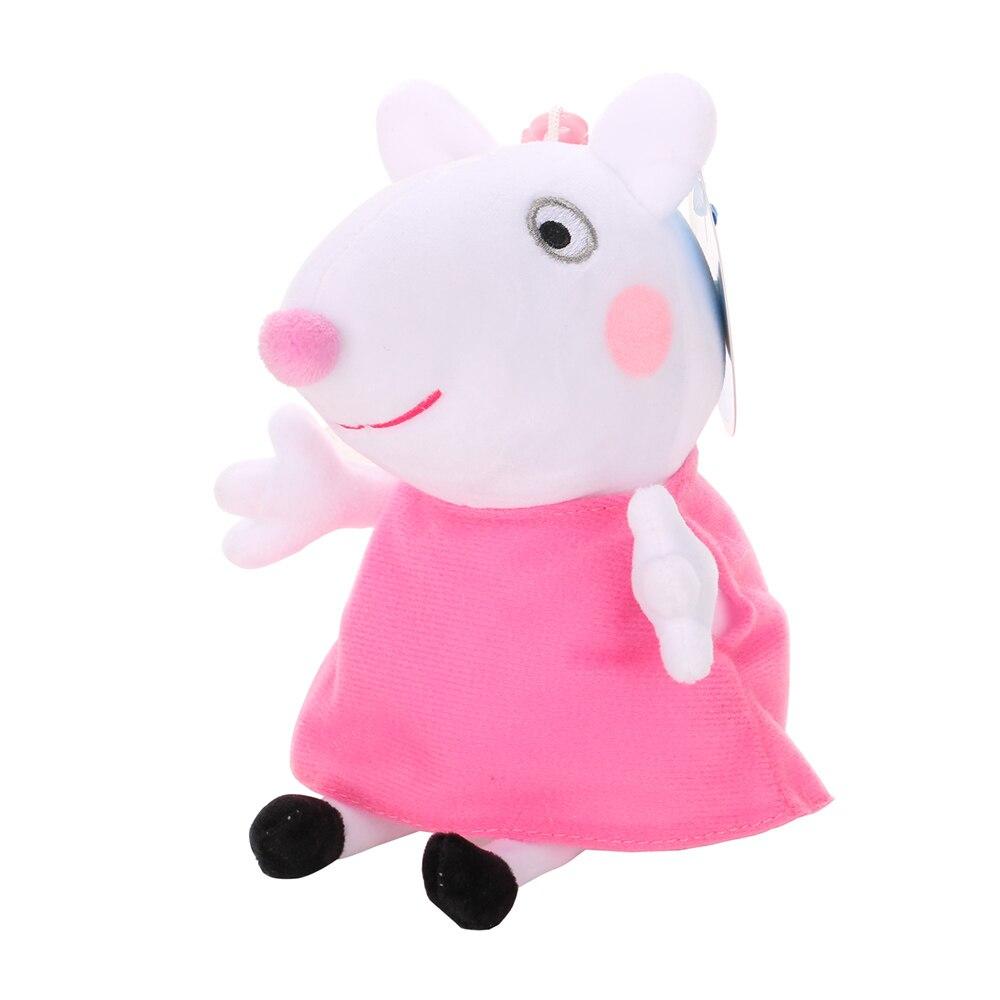 Оригинальные 19 см Свинка Пеппа Джордж Животные Мягкие плюшевые игрушки мультфильм семья друг свинка вечерние куклы для девочек детские подарки на день рождения - Цвет: A