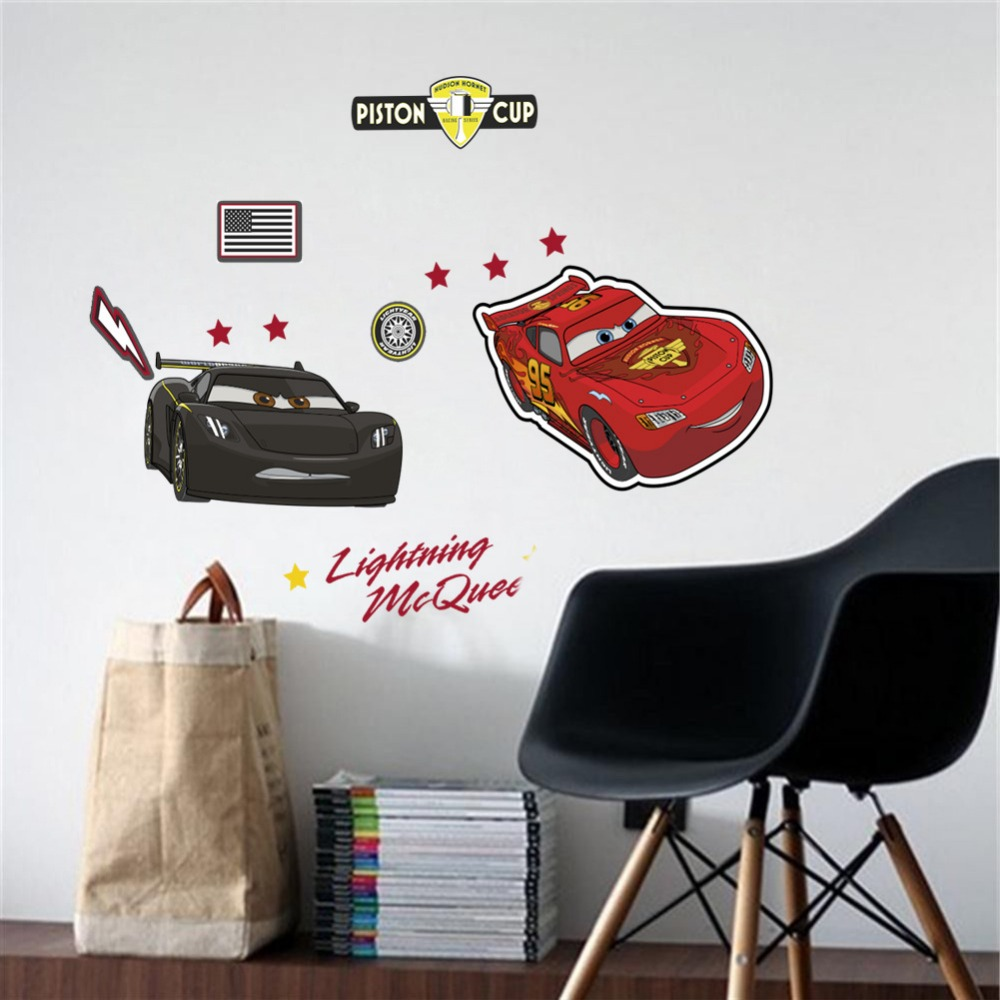 Lightning McQueen Wall Stickers For Boys Room Kindergarten Cool Cartoon Cars Kids Bedroom Decorative Decal Removable B Mural