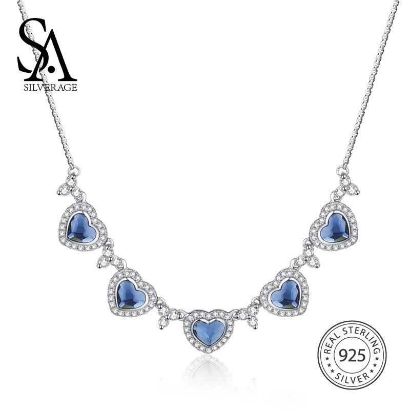 SA SILVERAGE 925 Sterling Silver Declaração Colar & Pingentes de Cristal Azul Coração Pingente Colares de Cadeia Para As Mulheres Finas Jóias