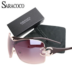 SARACOCO Vintage Gradient Sunglasses Women With Package Fashion Brand Designer Gold Frame Oversized Sun Glasses Oculos Femininos