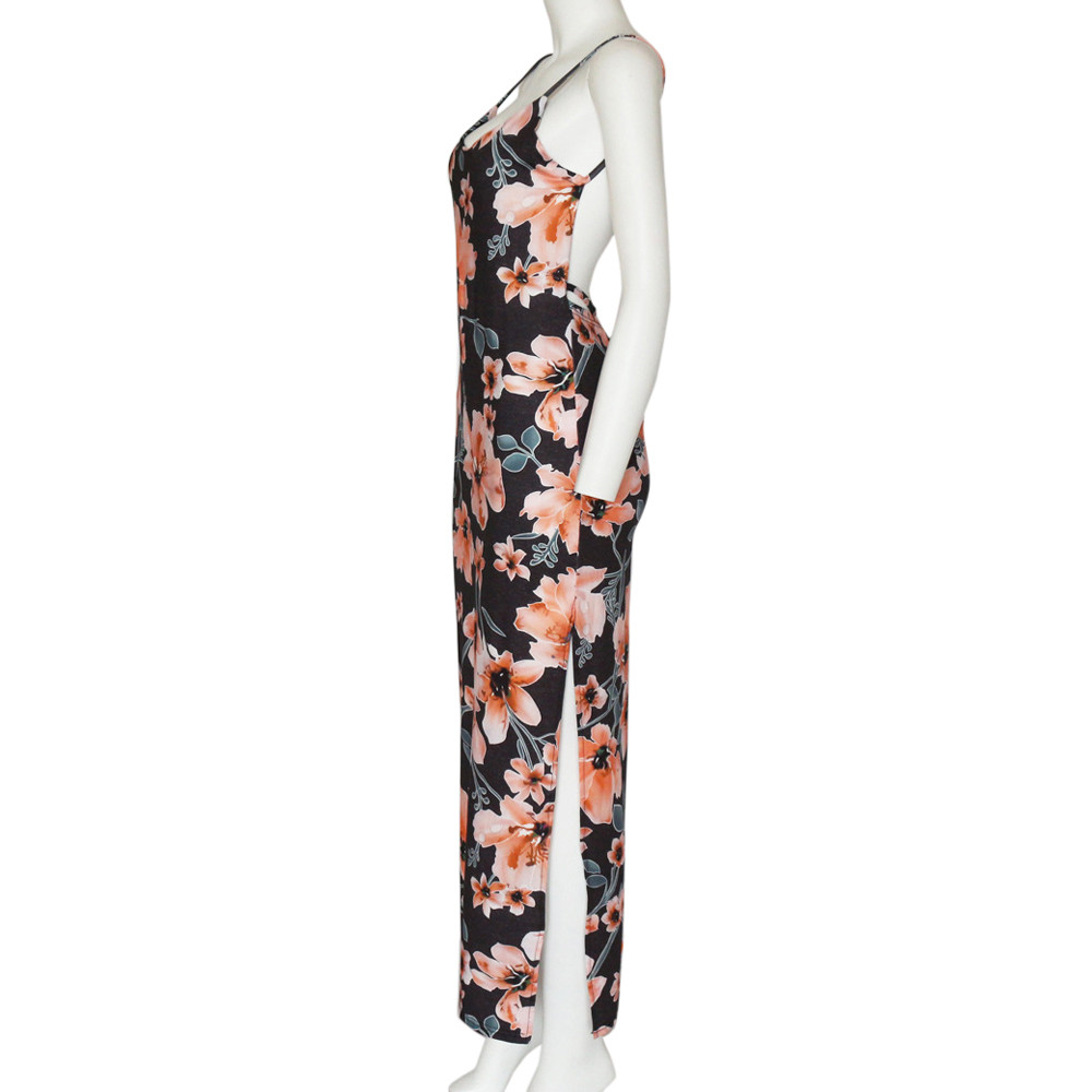 HTB1UCiObfvsK1RjSspdq6AZepXa2 Free Ostrich 2019 Fashion Womens Floral Printed Camis Backless Split Party Sexy Bodycon Long Dress Side Slit Vintage Long Dress