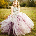 Silver rosette flowergirl party dress for kids tulle ball gown flower girl dresses purple size10 12