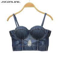 JYConline Push Up Denim Bustier Crop Top Womens Ripped Sexy Cropped Feminino Strappy Bralette Bras Camis