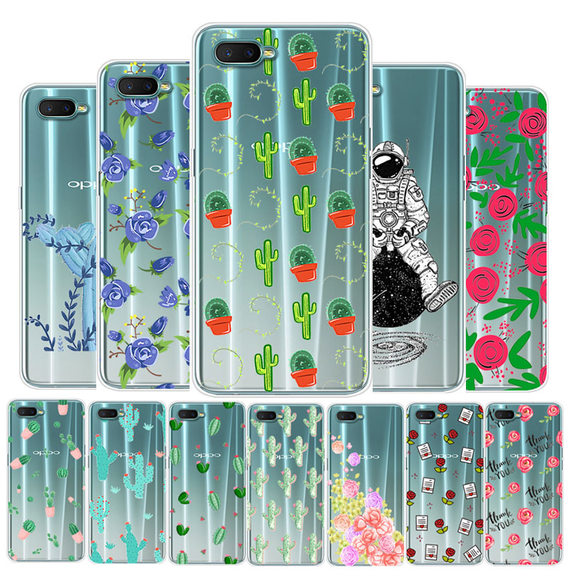 For OPPO RX17 Neo Case Silicone Cactus Flower Clear Soft TPU Case For OPPO RX17 Phone Cover Coque Neo RX17Neo RX 17 Neo Funda