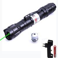 Высокая Мощность зеленый лазерная указка 532nm 5 МВт лазерная ручка регулируется Мощность ful Звездное голова с 18650 Батарея + Зарядное устройств...