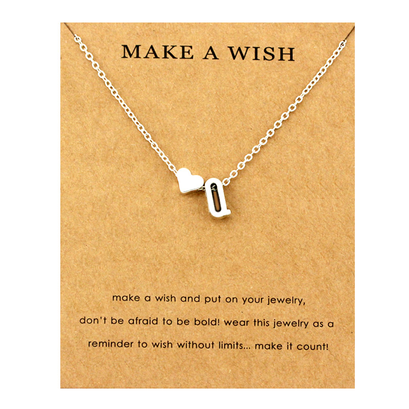 Сердце начальные Подвески ожерелье s персонализированное ожерелье с буквами Имя ювелирные изделия для женщин мужчин аксессуары подруги любовника пара подарок - Окраска металла: NE1671