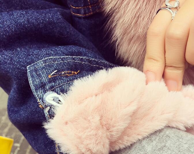 2016 Haute Gratuite Rose Lignes De As D'hiver Vestes Pardessus Pic Livraison Jeans Bordée Fourrure Denim Imitation Femmes Dames Femme Veste CqREIwq