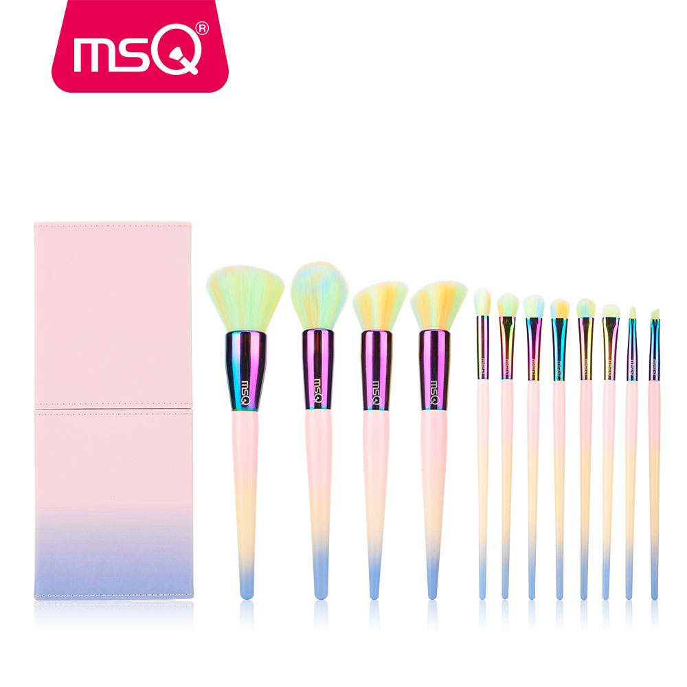 MSQ 12pcs Makeup Brushes Set Rainbow Gradient Color Brush Powder Blusher Eyeshadow Lip Make Up cosmetic Brush Set Copper Ferrule msq makeup brushes set rainbow diamond cosmetic base brush foundation eyeshadow blush powder make up brush kit plastics handle