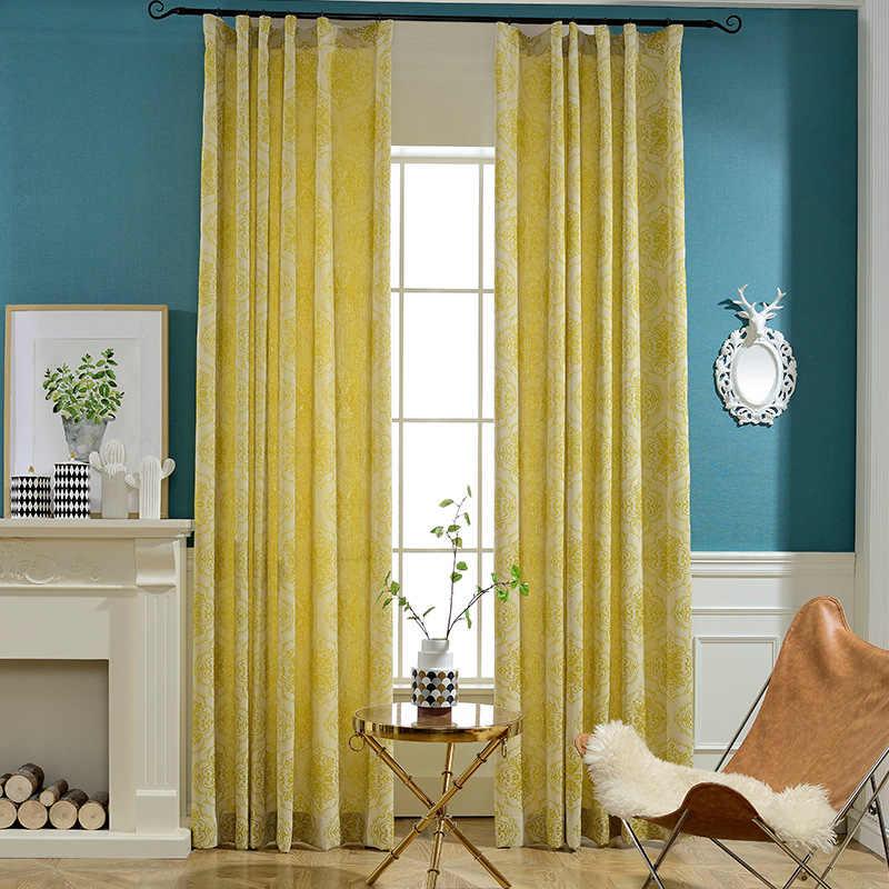Медленно Soul Cortex хлопок и лен желтый зеленый шторы из жаккардовой ткани стиль s для гостиной роскошные французские окна