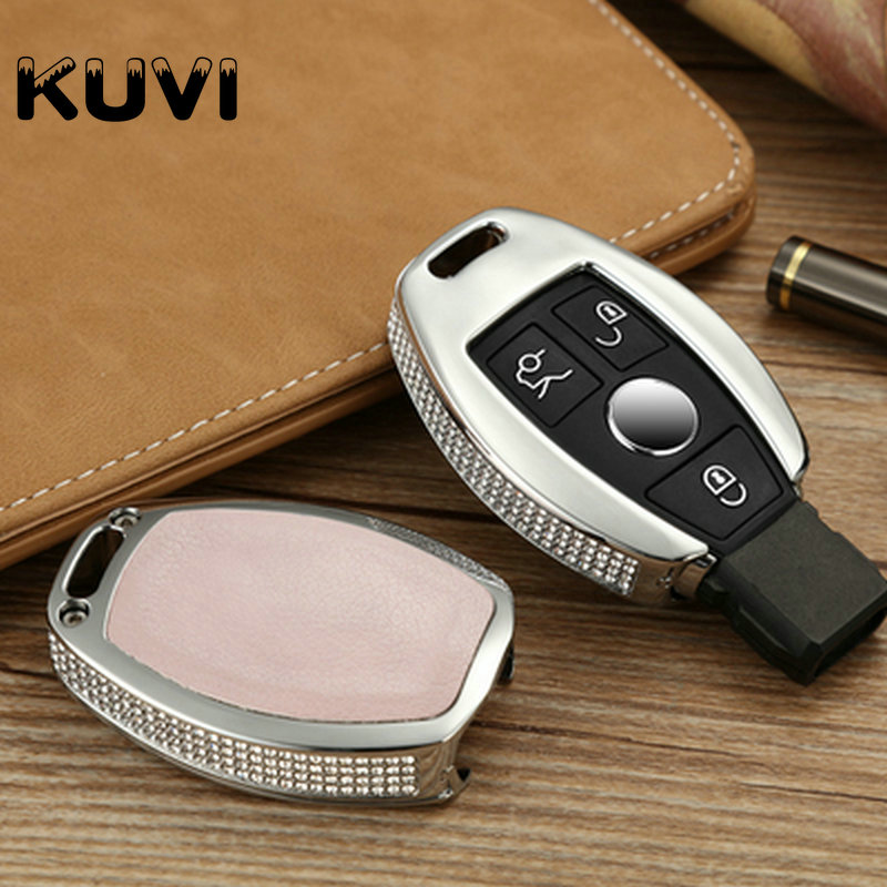 Diamond Zinc Alloy Leather Key Cover Case Key Chain Keyring Fit for Mercedes Benz W204 W205 W212 C E S GLA Key Cover Case image