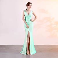 Sexy Light Green Crystal Mermaid Long Formal Dress Evening 2019 Evening Gown Women V Neck Sleeveless Banquet Party Dresses