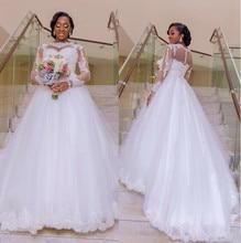 Custom Made Plus Size A Line White Tulle Lace Applique Sheer Long Sleeve Plus Size Wedding Dresses Bridal vestido de noiva