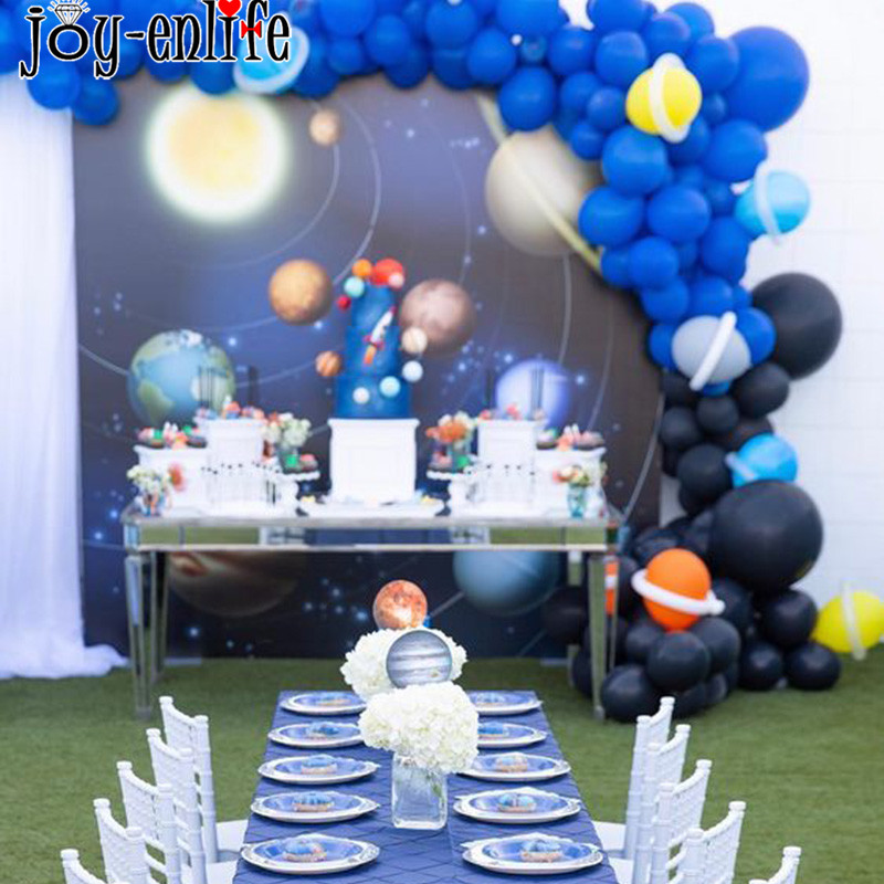 Galaxy Party Solar System Theme Birthday Party SuppliesTableware Kit For 16 Guests Outer Space Rocket Astronaut Event Party in Disposable Party Tableware from Home Garden