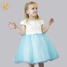 New Girls Dress for Wedding Party Baby Flowers Short Sleeve Pearls Embroidery with Bow-knot Princess Dresses
