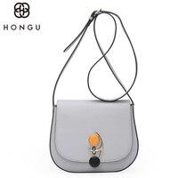 HONGU Famous Brand Real Cow Leather Crossbody Bag Ladies Shoulder Messenger Iphone Bag For Teenage Girls Business Handbag Simple