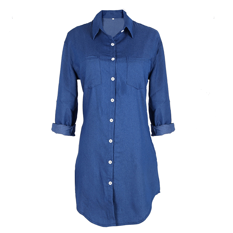 2017 Hot Fashion Women Ladies Long Sleeve Loose Denim Mini Dress Casual Long Jean Casual Dresses