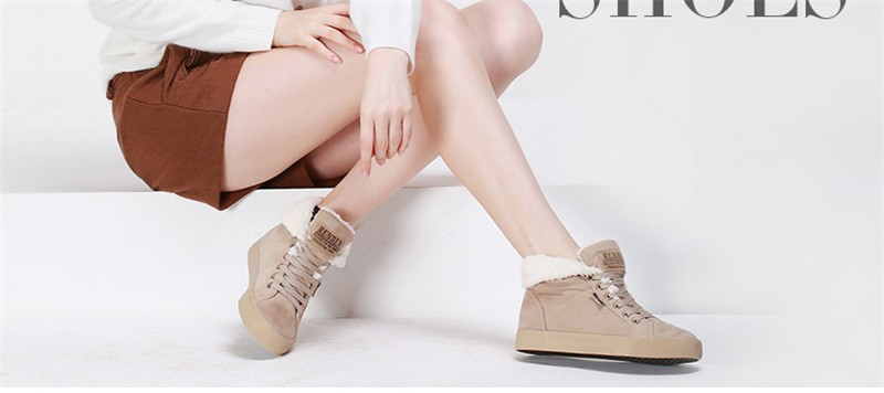 New Women Winter Faux Suede Leather Warm Plush Ankle Boots Autumn Women Shoes Fur Snow Boots Comfortable Running Shoes Sneakers 41