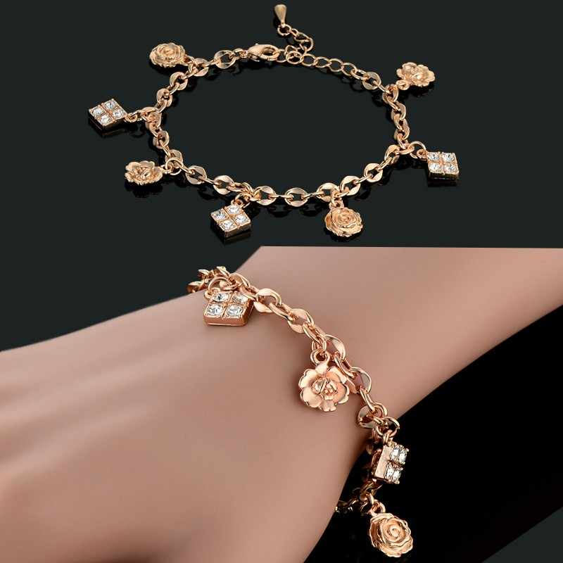 Trendy Cubic Zircon Square Flower Charm Bracelet For Women Wholesale Braslet 19cm Gold Color Link Chain Female Jewelry