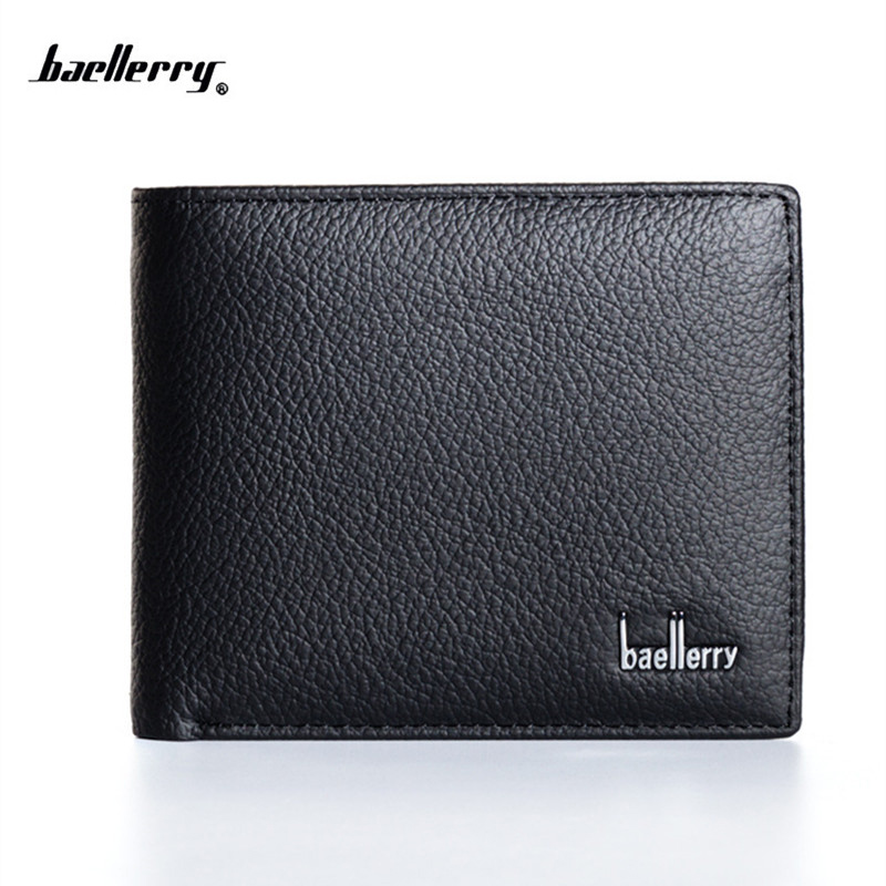 New 2018 Genuine Leather Men Wallets Famous Brand Men Wallet Male Black Coin Purse ID Card Dollar Bill Wallet
