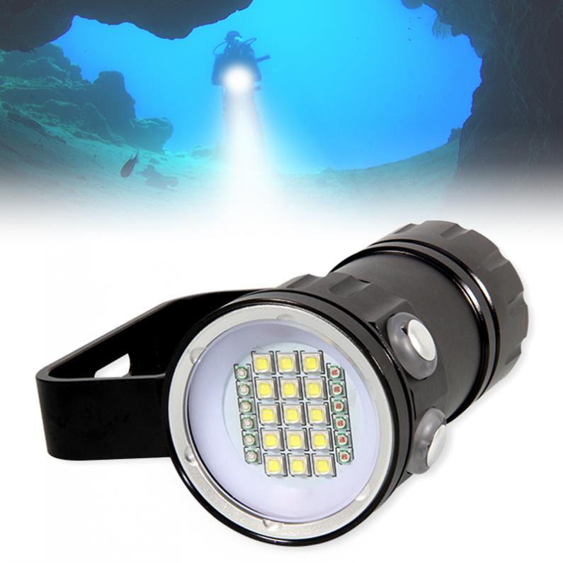 QH27 3 Modes 180W Fifteen 5050 White XML2 Six XPE Red R5 Six XPE Blue R5 LED Underwater 80m Scuba Diving Canister Light qh14 300w 28800 lumens six 9090 white xml2 four xpe red r5 four xpe blue r5 led diving light with 7 modes flashlight
