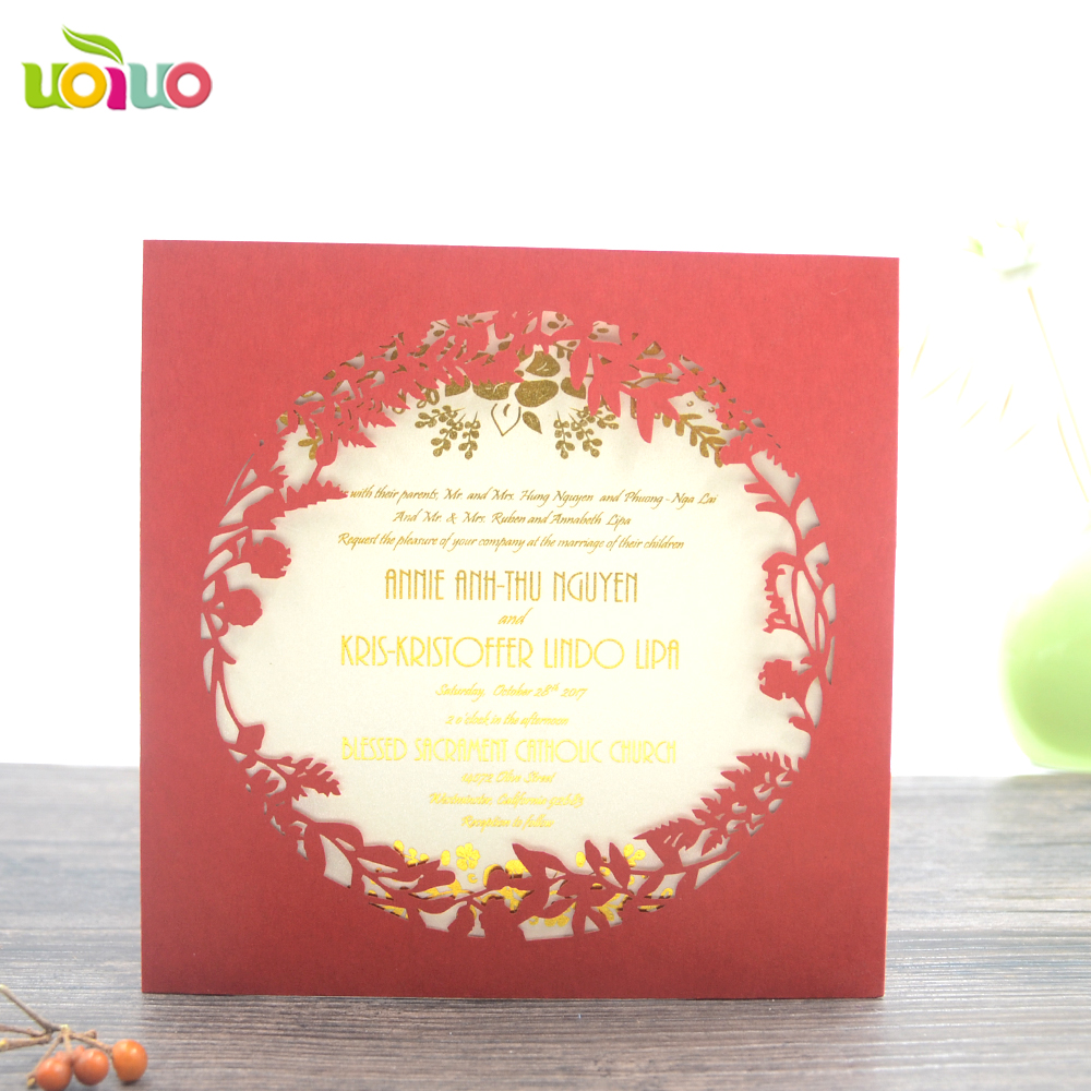 marriage invitation cards Square leaves wedding invitations pocket ...