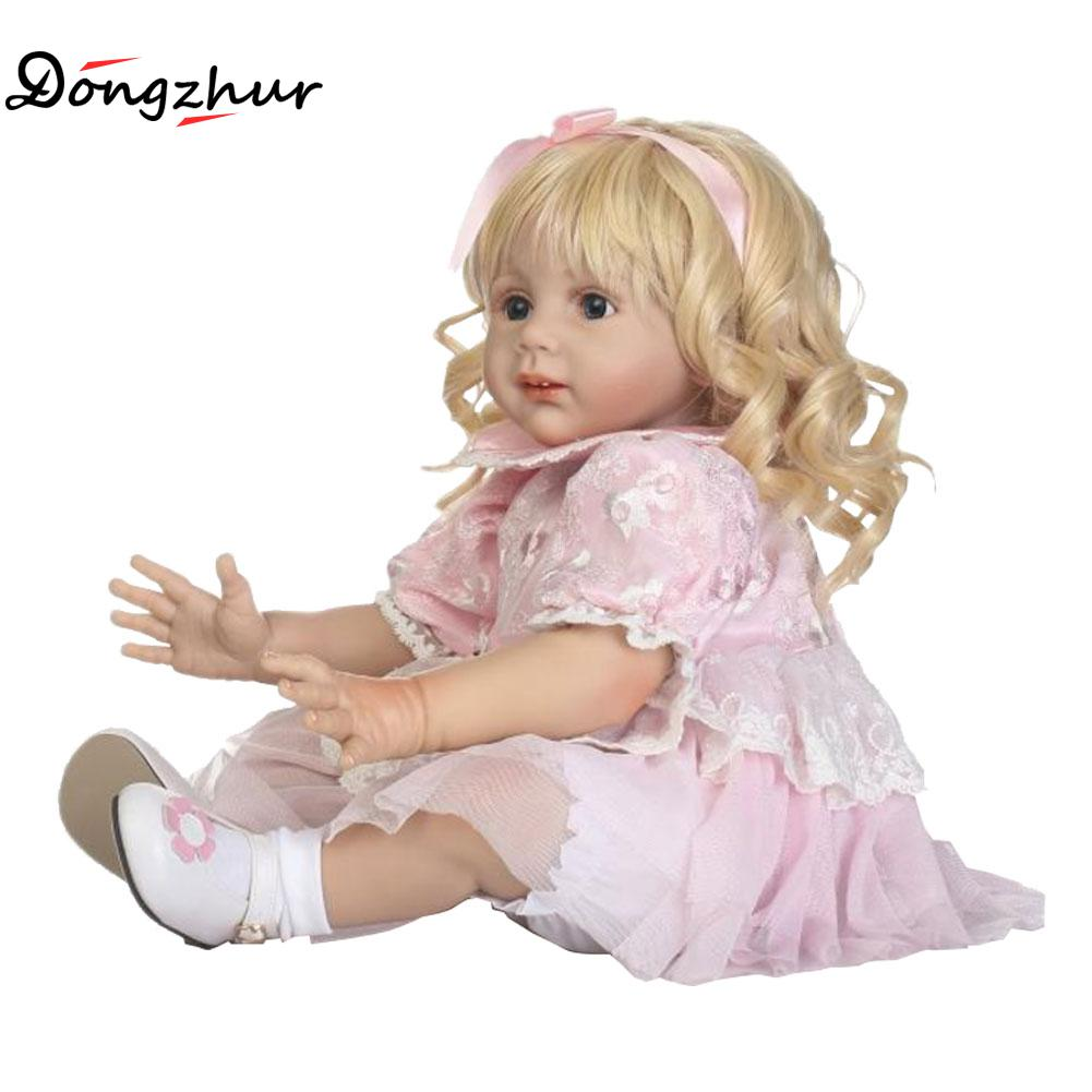 Dongzhur Solid Silicone Reborn Babies Npkdoll Pink Skirt Golden Long Curly Doll 60cm Simulation Dolls Reborn Toddle Reborn Doll warkings reborn