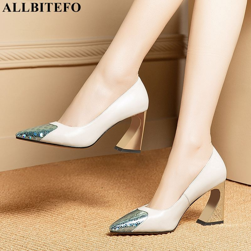 ALLBITEFO genuine leather women high heels pointed toe mixed colors fashion sexy high heel shoes girls