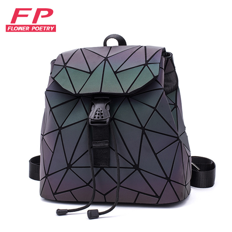 Dropshipping Luminous Backpacks Geometric Bag Men Women Backpack For Girl Travel School Bag Student's Backpack Hologram Sac