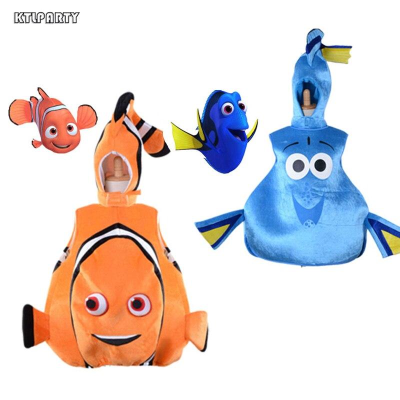 Trouver Nemo Costume enfants adulte Halloween fête Cosplay Clownfish Regal bleu Tang Dory enfant en bas âge poisson gilet tenue Costume