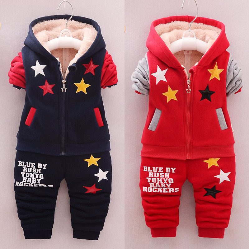 Winter Boys Plus Velvet 0-1-2-3-4 Years Old Clothing Sets Infant Girls Thickened Warm Suit Baby Cotton Tracksuits Two-piece Set цена