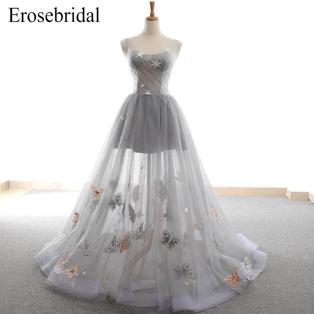 Simple Tulle Grey 2019 Evening Dress Long A Line Sexy Illusion Bodice Elegant Robe De Soiree Lace Up Back Vestido De Festa