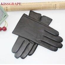 цена на Men's Gloves Genuine Leather Gloves Autumn Winter Gloves Soft Sheepskin Loose Cuff Design Easy Wear High Quality 3 Size S M L