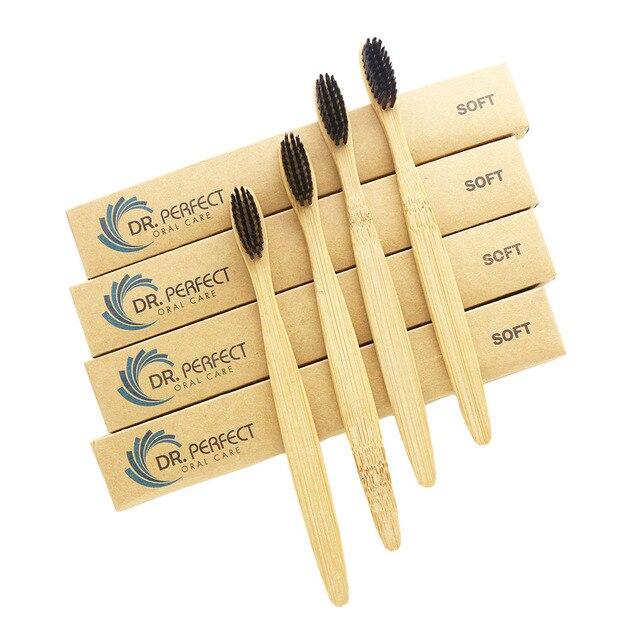 DR. PERFECT 100 шт./лот деревянная мягкая Экологически чистая бамбуковая язык зубная Щетка скребок уход за полостью рта мягкая щетина
