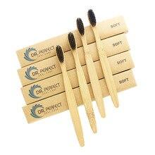 DR. idealne 100 części/partia drewnianej miękkie przyjazne dla środowiska szczoteczka bambusowa języka skrobak do czyszczenia do pielęgnacji jamy ustnej miękkim włosiu