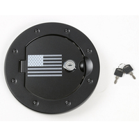Locking Fuel Door Cover Auto Gas Tank Cap Cover Lock for Jeep Wrangler 2007 2016 Black Aluminum Flag Pattern