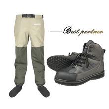 Fly Fishing Wadersกางเกงเอว & รองเท้ายางSoleการล่าสัตว์กลางแจ้งWadingกางเกงรองเท้าผ้าใบAquaตกปลารองเท้ารองเท้าRock FYR1