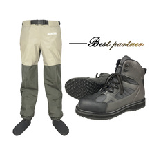 Fly Fishing Waders Waist Pants & Shoes With Rubber Sole Outdoor Hunting Wading Pants Aqua Sneakers Fishing Boots Rock Shoes FYR1 unisex plus 46 fishing waders leg pants super large synthetic leather boots thickening sole one piece fishing waders leg pants