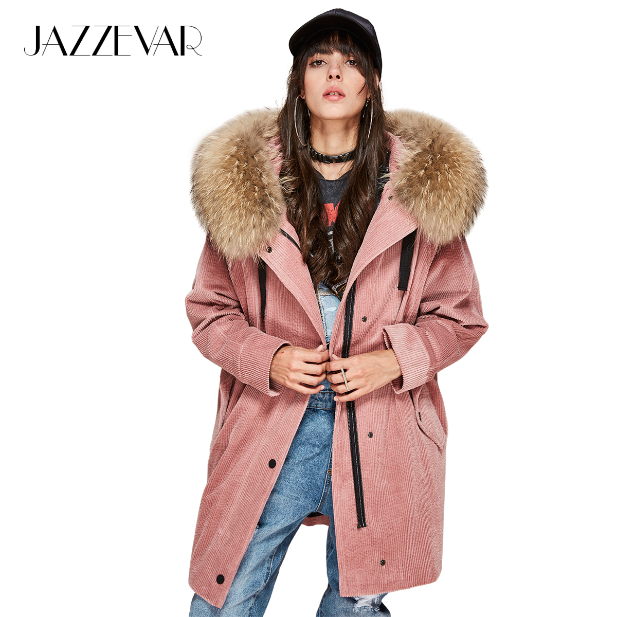 JAZZEVAR 2019 New Fashion Women's Parkas Detachable Liner Real Raccoon Fur Oversize Winter Jacket Corduroy Coat Loose Clothing