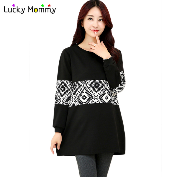 Autumn Winter New Prismatic Maternity Blouse Loose Casual Shirts Blouses for Pregnant Women Clothing Maternity Tops Ropa Premama