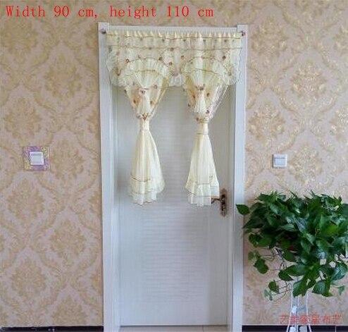 21 75 Double Chambre Tissu Rideau Dentelle Rideau Cloison Porche Pastorale Moustique Rideau Court Demi Double Changmen Dans Rideaux De Maison