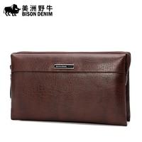BISON DENIM Fashion Handbag Men Genuine Leather Wallet Business Casual Large Capacity Clutch Bag Men's Cowhide Purse N8009 1