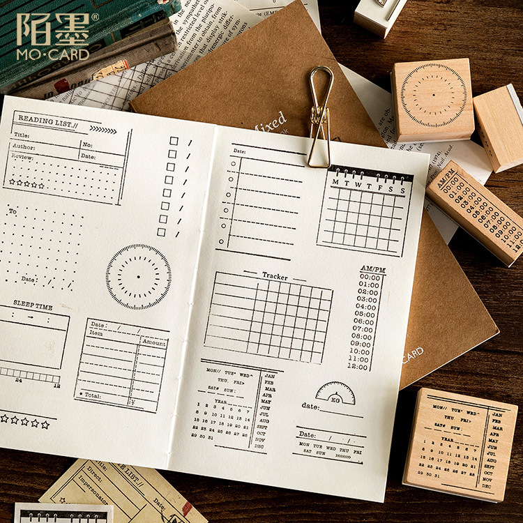18 styles Creative calendar/date/week plan/to do/point retro wood and rubber seal log rubber stamp decorative dairy planner book18 styles Creative calendar/date/week plan/to do/point retro wood and rubber seal log rubber stamp decorative dairy planner book