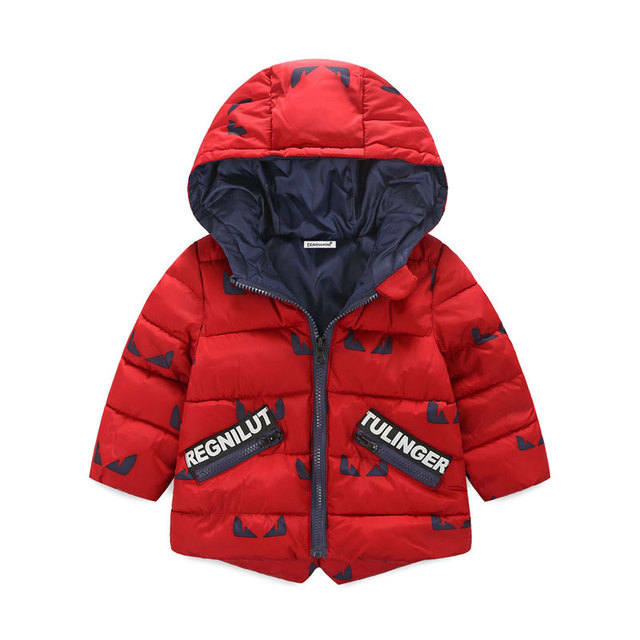 Hooded Winter Jacket for Boys with Colorful Designs