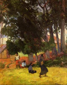 High quality Oil painting Canvas Reproductions Tahitian village (1892)  by Paul Gauguin hand painted
