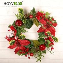 HOYVJOY New Red Christmas Artifical Wreath Flower Fruit Garland Party Festival Decoration 45cm Diameter Wall Sticker