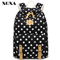 XQXA Vitage Dotted Printing Canvas School Backpack Bags for Teenager Girls Backpack for Women Casual Daypacks Mochila Feminina