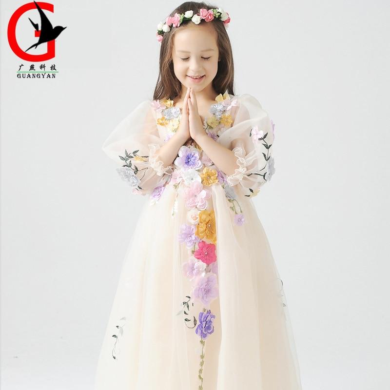 Children's wedding dress Flower Fairy Girl Princess Dress Child Tutu Performance dress baby dresses kids Girl  birthday gift обои купить в челябинске в розницу по оптовым ценам