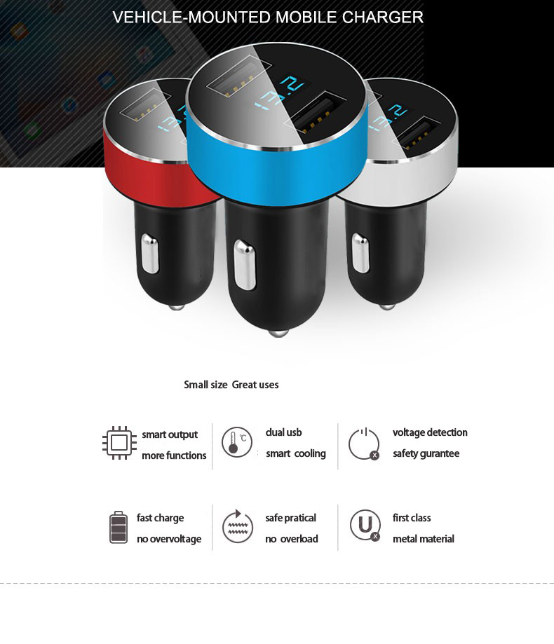 Mini Dual USB Car Charger with LED Display Voltage Detection for lifan x60 620 520 320 x50 solano smily