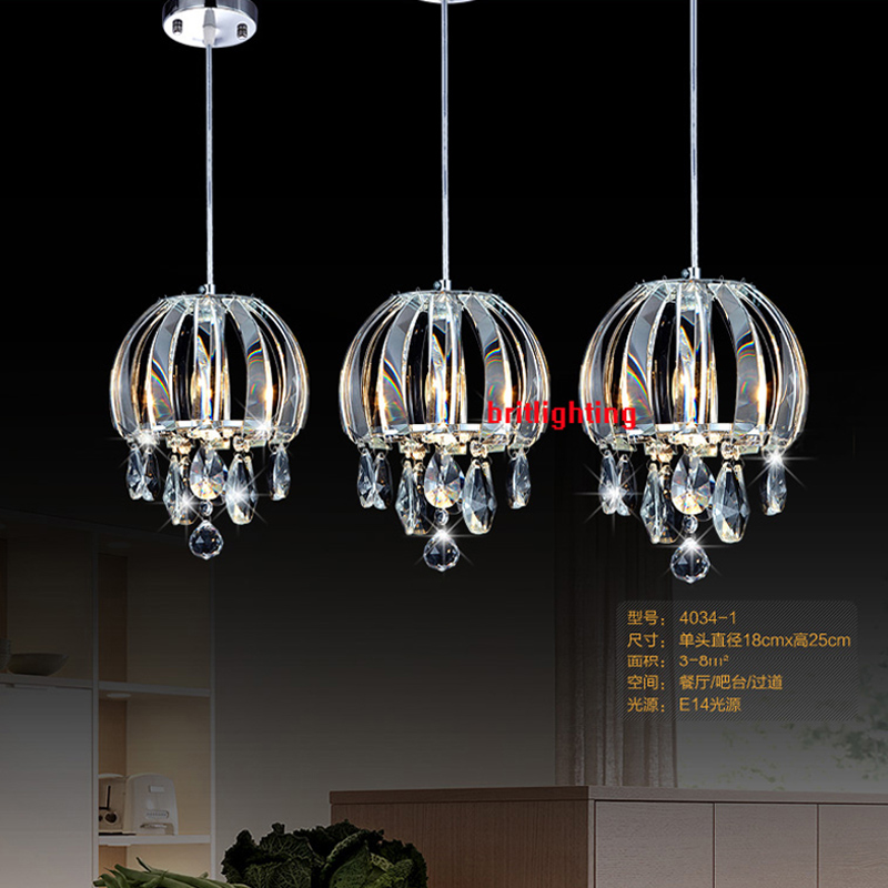 Pendant Lamp Cord Three Lights Crystal Lamps Dining Room Linear Modern Light For Kitchen
